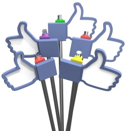 Group of social media thumbs-up facebook like us icons as signs
