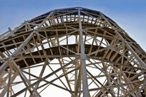monochromatic abstract steel rollercoaster with bars background
